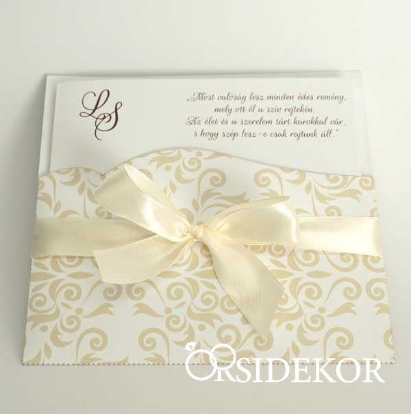 Elegáns esküvői meghívó papírtokban
