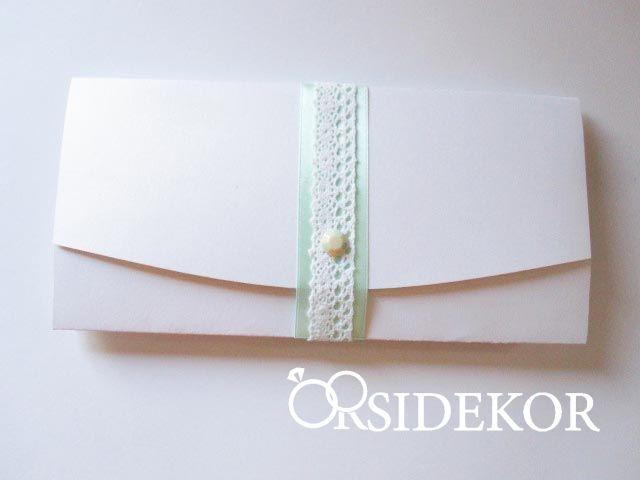 Esküvői meghívó csipkével, szalaggal és strasszal - 2017