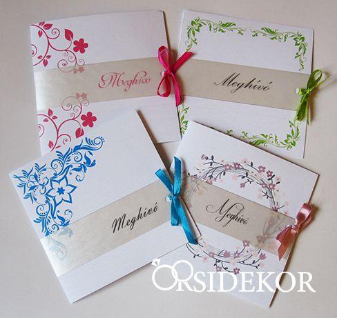 Egyedi mintás esküvői meghívó szalaggal