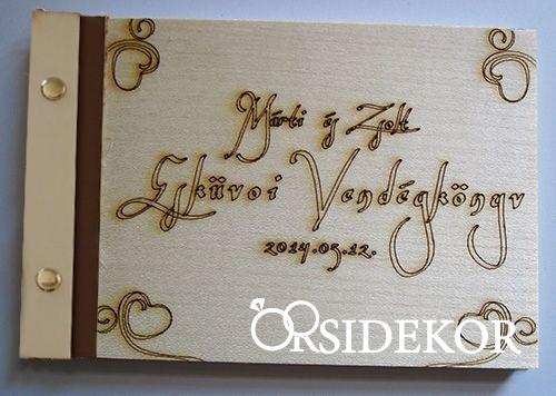 Esküvői vendégkönyv fa borítású