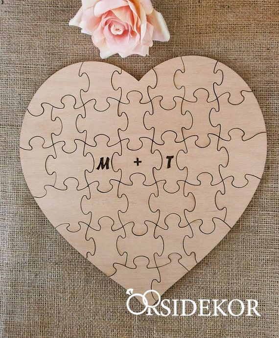 Esküvői vendégkönyv - fa puzzle