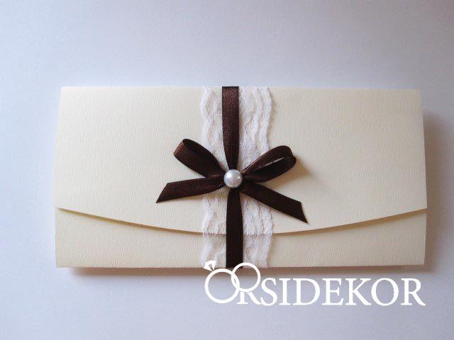 Esküvői meghívó csipkével, szalaggal és gyönggyel - 2017