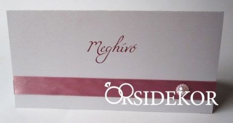Esküvői meghívó szalaggal és gyönggyel