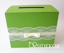 Zöld nászajándékgyűjtő doboz / persely csipkével