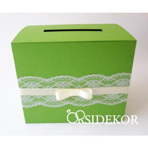 Zöld nászajándékgyűjtő doboz / persely csipkével és masnival