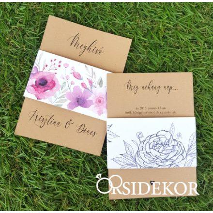 Egylapos esküvői meghívó modern mintás papírpánttal