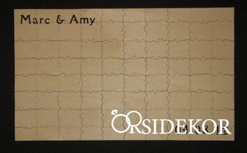 Esküvői vendégkönyv, fa puzzle