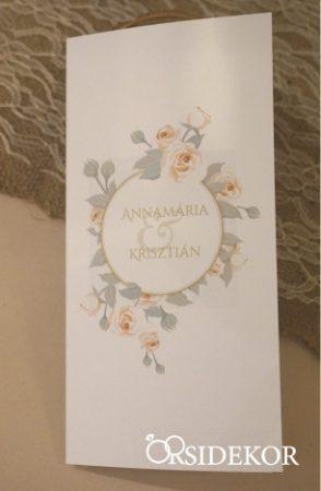 Esküvői meghívó fehér csipkével díszítve