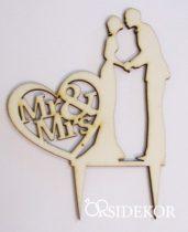 Esküvői tortadísz, menyasszony és vőlegény, Mr&Mrs