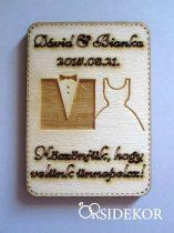 Köszönetajándék esküvői hűtőmágnes fából