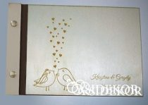 Esküvői vendégkönyv, fa borítású