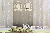 Friss Házasok hátfal dekoráció esküvőre