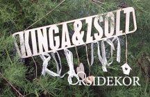 Névre szóló tábla esküvőre fából