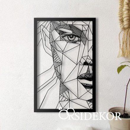 Geometrikus női arc falikép fából