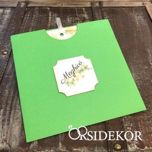 Kétoldalas, greenery esküvői meghívó papírtokban