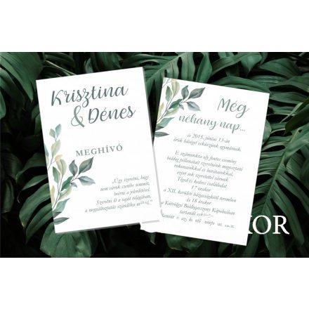 Egylapos esküvői meghívó vőlegény-menyasszony mintával