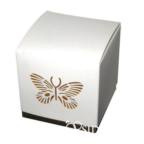 Köszönetajándék-doboz cukrozott mandulával, csokiszívvel bordó-arany