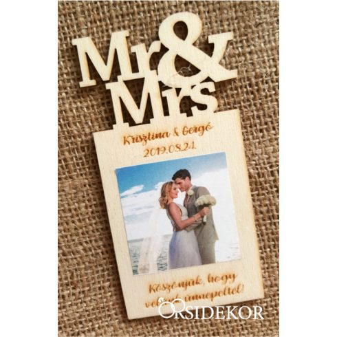 Fényképes fa hűtőmágnes, Mr&Mrs