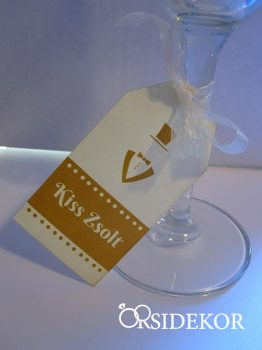 Ültetőkártya, nyomtatott, pohárra fűzhető