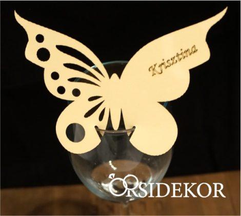Pohárra tehető ültetőkártya, pillangós