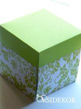 Dobozos esküvői meghívó mintás dobozban, 7x7 cm