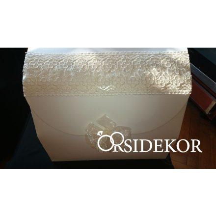 Nászajándékgyűjtő doboz/persely csipkével és szalaggal