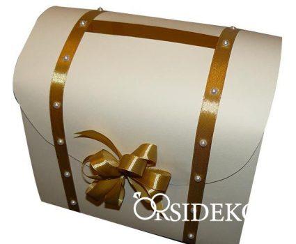 Nászajándékgyűjtő doboz/persely szalaggal és gyönggyel