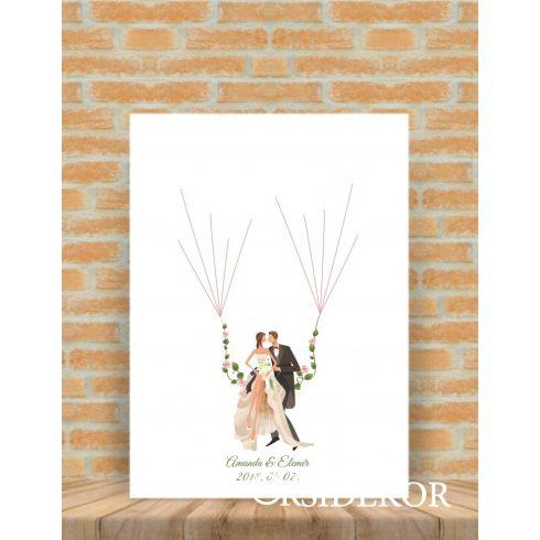 Ujjlenyomat fa hintázó ifjú pár- esküvői vendégkönyv