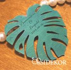 Greenery esküvői stílus köszönetajándék fából - levélforma