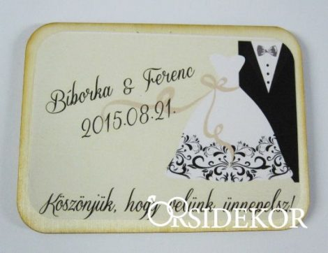 Köszönetajándék esküvői hűtőmágnes, 5x7 cm
