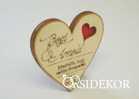 Szív alakú 3D hűtőmágnes fából