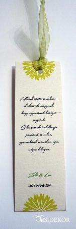 Egyedi esküvői köszönetajándék könyvjelző