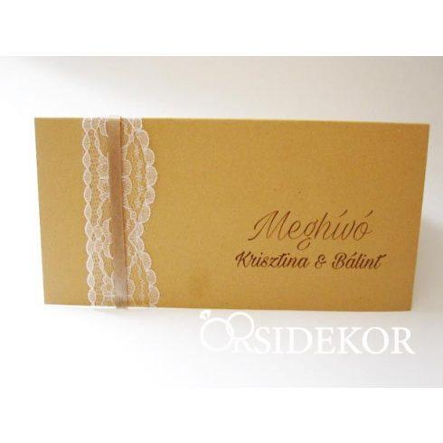 Esküvői meghívó csipkével és szalaggal