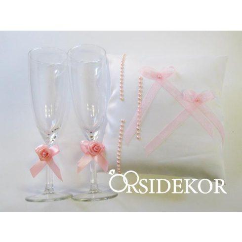 Esküvői kollekció: gyűrűpárna + esküvői pezsgőspohár