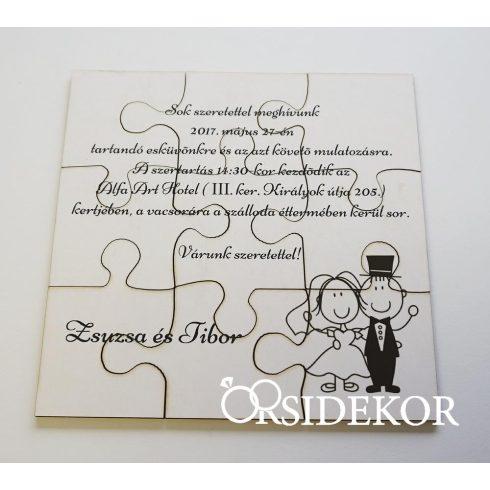 Puzzle esküvői meghívó