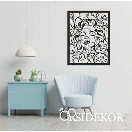Marilyn Monroe levelekkel falikép fából