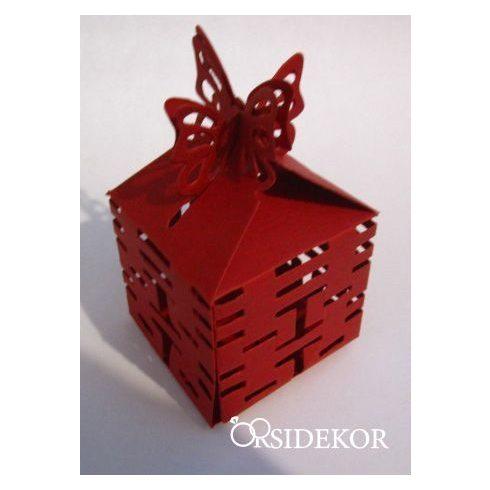 Pillangós köszönetajándék-doboz cukrozott mandulával, csokiszívvel
