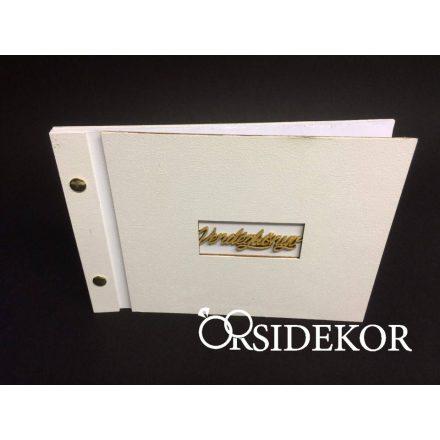 Fehér vendégkönyv felirattal