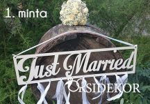 Just Married tábla fából