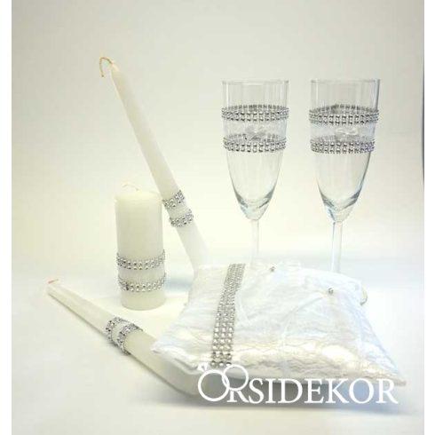 Elegáns, strasszos esküvői kollekció: gyűrűpárna + esküvői pezsgőspohár
