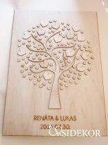 Kreatív fa vendégkönyv szívekkel