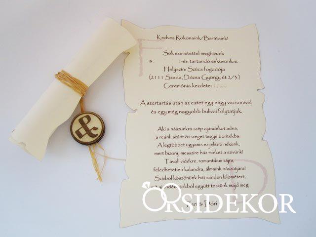 a471237f02 Pergamen esküvői meghívó egyedi fa rátéttel - Orsi Dekor - Esküvői ...