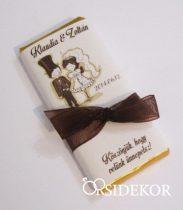 Köszönetajándék csoki masnival átkötve
