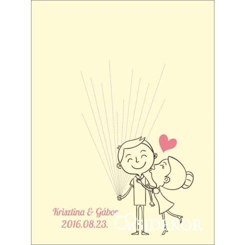 Figurás esküvői vendégkönyv, ujjlenyomatfa