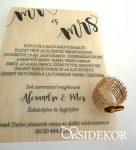 Pausz esküvői meghívó faerezetes mintával