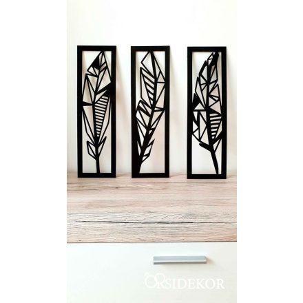 3 részes geometrikus tollak falikép fából