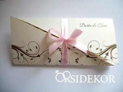 Kihajtható esküvői meghívó indamintával és szalaggal