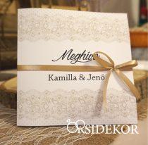 Pillangós esküvői meghívó spárgával átkötve