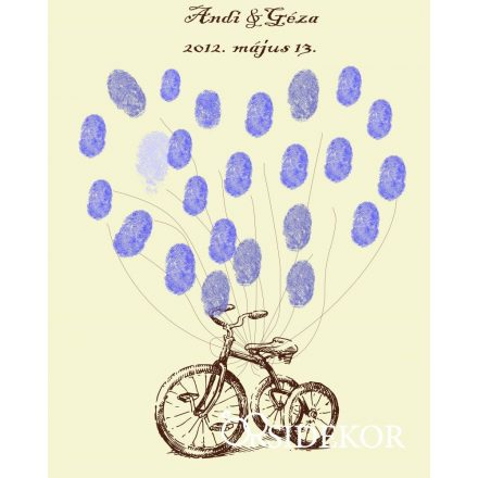 Retro triciklis esküvői vendégkönyv, ujjlenyomatfa