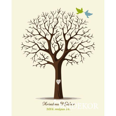 Esküvői vendégkönyv, ujjlenyomatfa fába vésett monogrammokkal